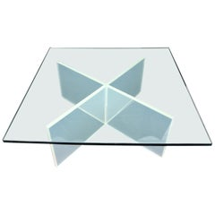 Frosted Lucite X-Base Glass Top Square Coffee Table