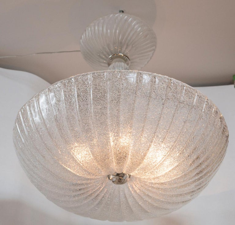 Modern Frosted Murano Dome-Shaped Pendant Ceiling Fixture, Contemporary For Sale