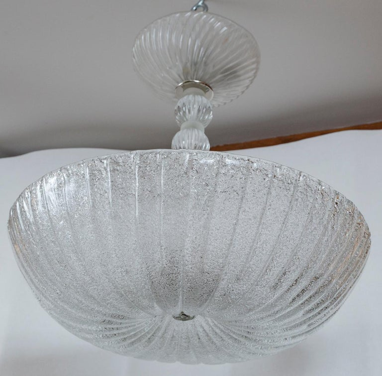 Frosted Murano Dome-Shaped Pendant Ceiling Fixture, Contemporary In Excellent Condition For Sale In Westport, CT