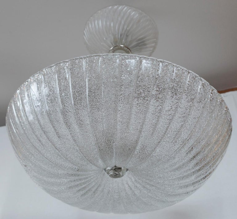 Frosted Murano Dome-Shaped Pendant Ceiling Fixture, Contemporary For Sale 1