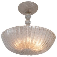 Frosted Murano Dome-Shaped Pendant Ceiling Fixture, Contemporary