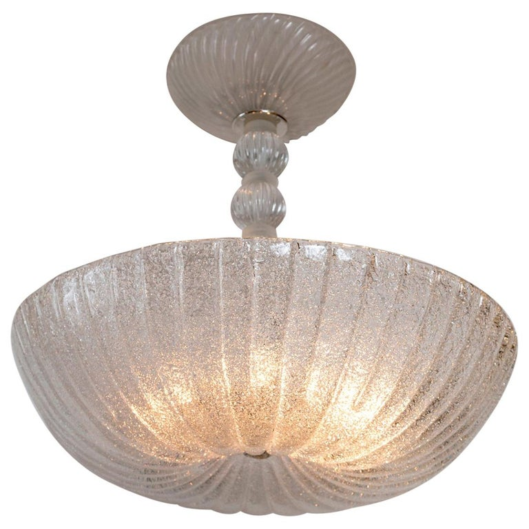 Frosted Murano Dome-Shaped Pendant Ceiling Fixture, Contemporary For Sale