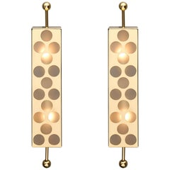 Frosted Murano Glass and Perforated Brass Sconces