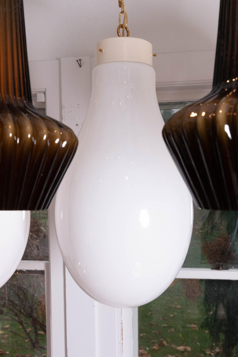 Frosted Murano Glass Bulb Form Pendant with Brass Hardware For Sale 1