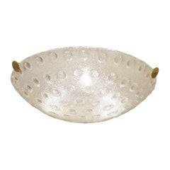 Frosted Murano Glass Dome Form Flush Mount Ceiling Fixture with Bubble Detail