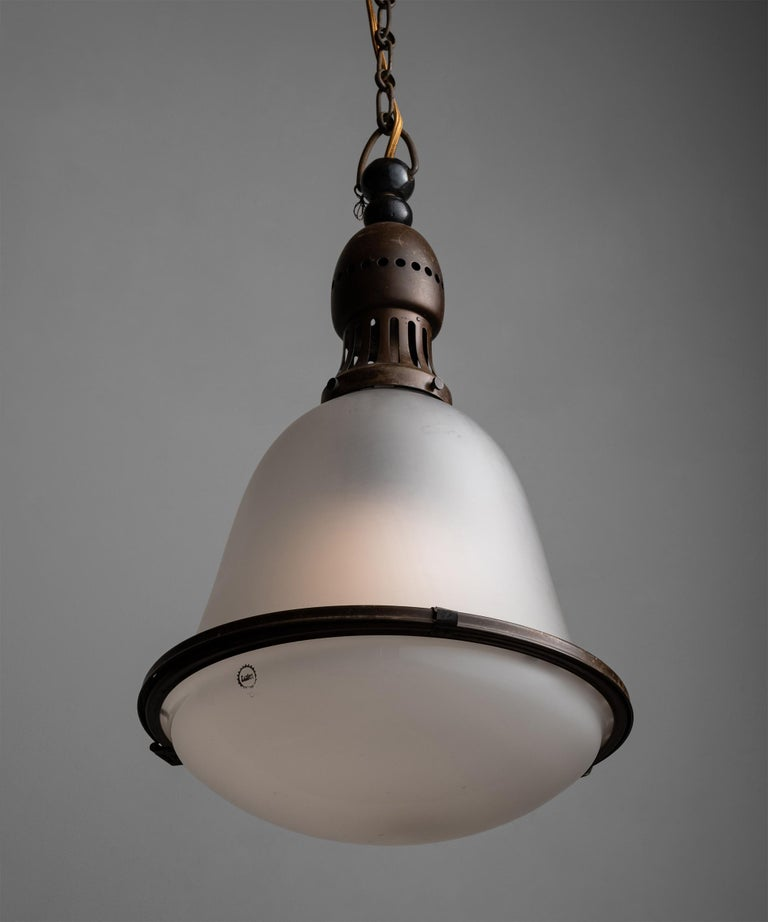 Copper Frosted Pendant by Körting & Mathiesen, Germany, circa 1930 For Sale