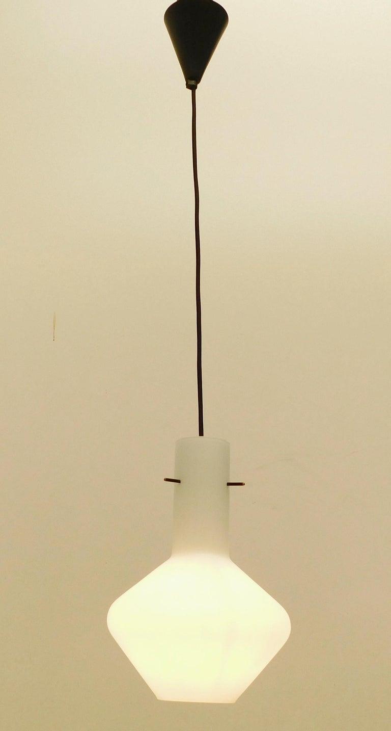 Frosted Cylinder Pendant by Stilnovo For Sale