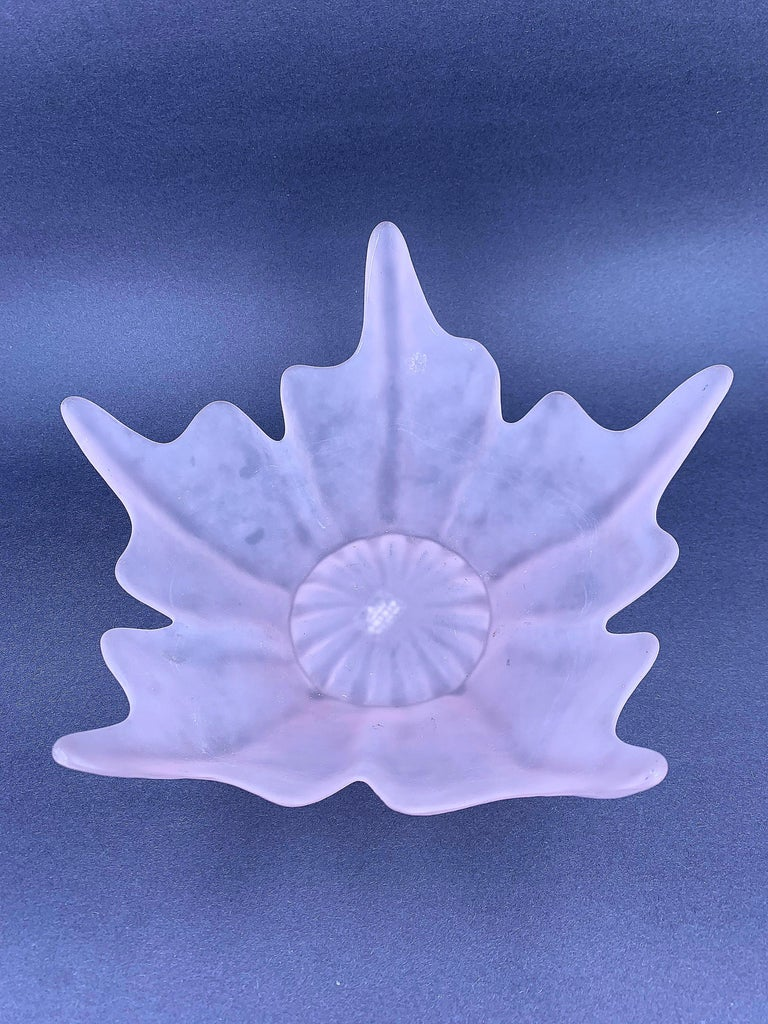 20th Century Frosted Pink Star Shaped Glass Bowl or Sculpture For Sale