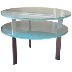 Frosted Two Level Glass Round End Table by Pace Collection