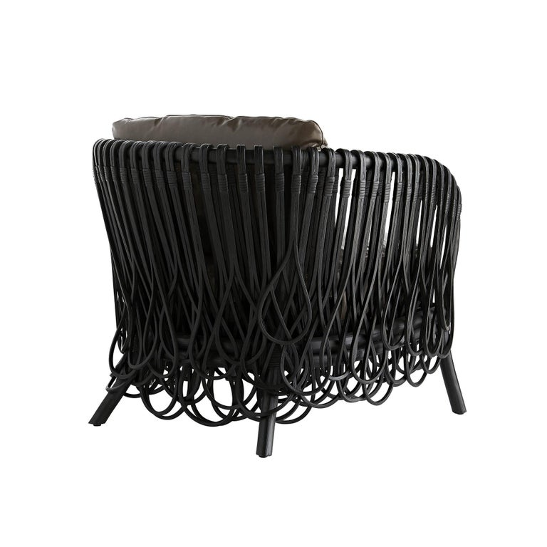 European Frou Frou, Contemporary Armchair, Looped Black Rattan Frame, Leather Upholstery For Sale