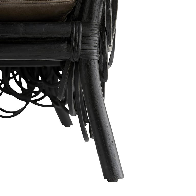 Frou Frou, Contemporary Armchair, Looped Black Rattan Frame, Leather Upholstery In New Condition For Sale In New York, NY