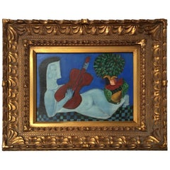 """Fruit Anyone ?"" Folk Art Primitive Naive Painting by Rose Walton"