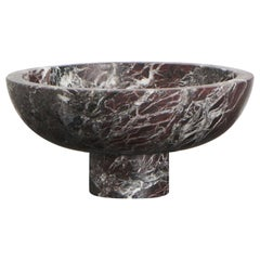Fruit Bowl in Red Marble, by Karen Chekerdjian, Made in Italy, Stock