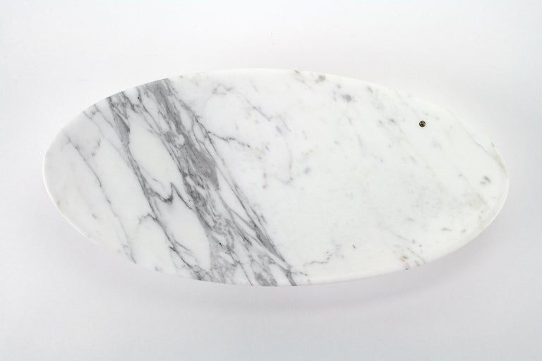 Fruit Bowl Vase in White Calacatta Marble Contemporary Design by Pieruga Marble In New Condition For Sale In Ancona, Marche