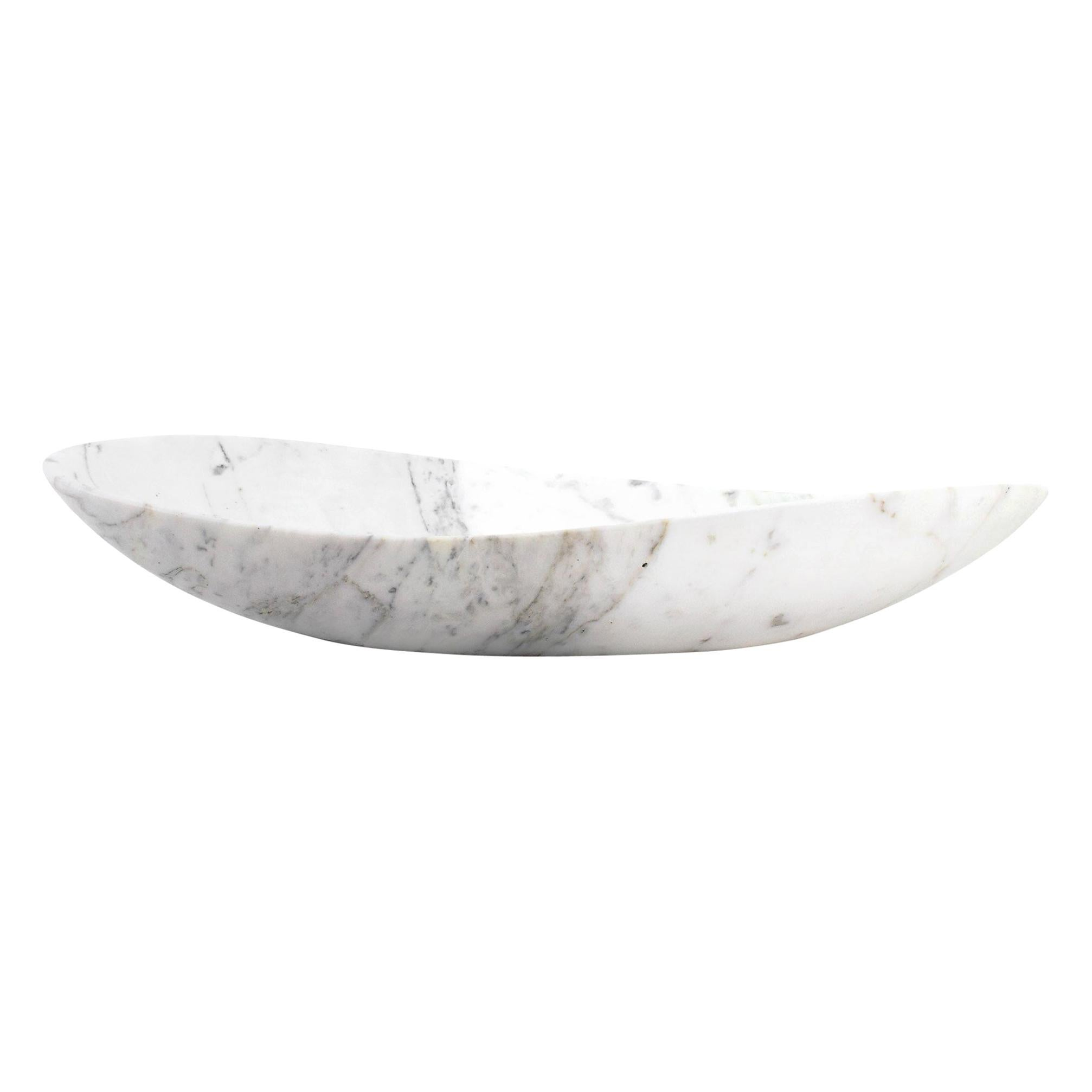 Fruit Bowl Vase in White Calacatta Marble Contemporary Design by Pieruga Marble