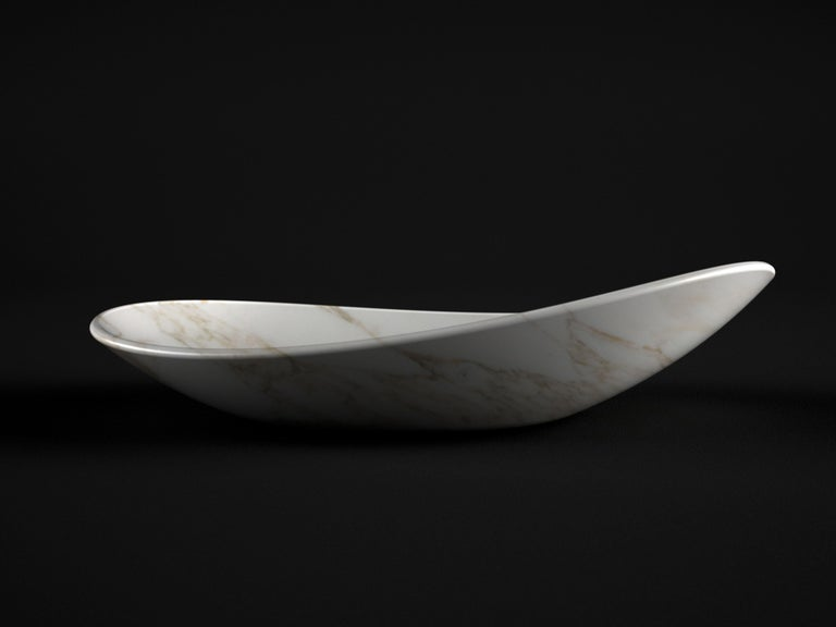 Fruit Bowl Vase Marble White Calacatta Oval Italian Contemporary Design For Sale 1
