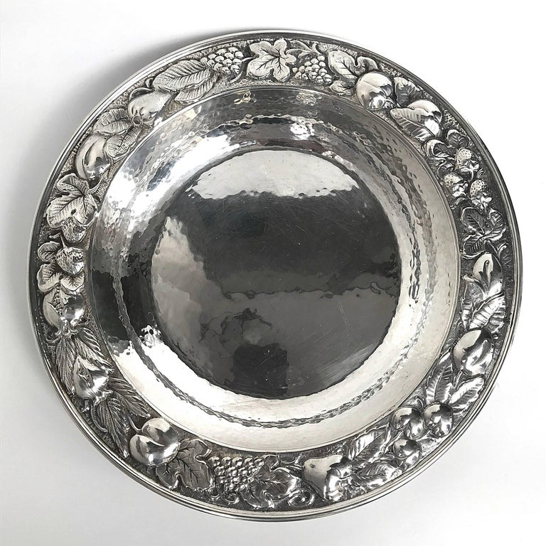 Mid-Century Modern Fruit Centrepiece Handcrafted Made by Hand in Silver of Bra For Sale