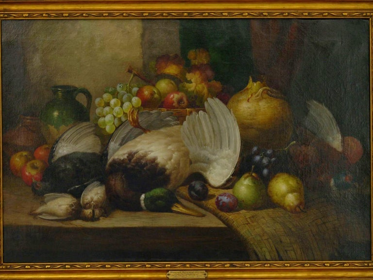 A vibrant and detailed oil painting by William Duffield (British, 1816-1863), the scene captures a duck and smaller fowl on the hunter's table before a bowl overflowing with grapes and apples and glazed pottery vessels. A woven throw is scattered