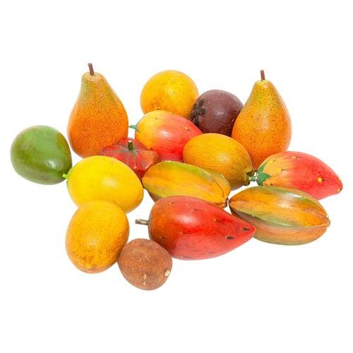 Fruit Wooden Painted Italian 19th Century Folk Vernacular Set of 15 Pieces