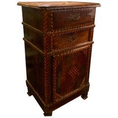 Fruitwood Marquetry Inlaid Side/Night Table Louis Philippe, 19th Century, France