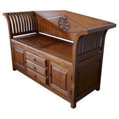 Fruitwood Settle, Bench, Hall Seat with Shoe Cupboard