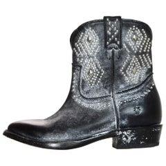 Frye Black Leather Billy Studded Short Boots Sz 5.5