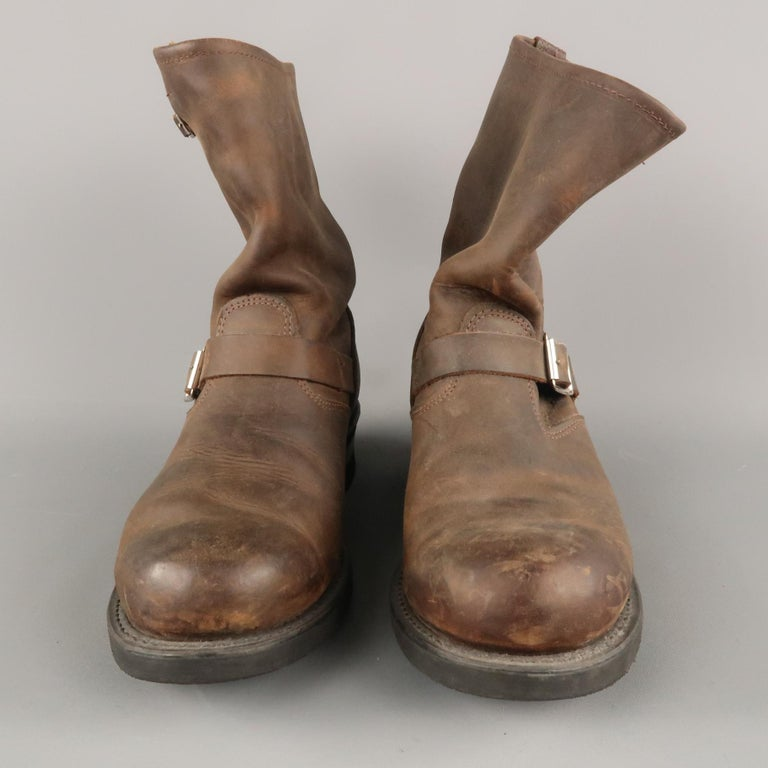 FRYE Size 8.5 Brown Distressed Leather Boots In Excellent Condition For Sale In San Francisco, CA