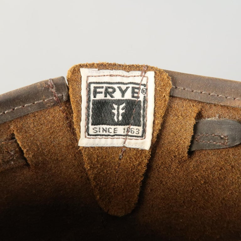 FRYE Size 8.5 Brown Distressed Leather Boots For Sale 1