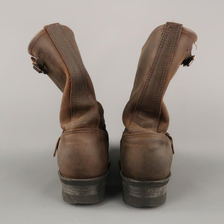 FRYE Size 8.5 Brown Distressed Leather Boots For Sale 3