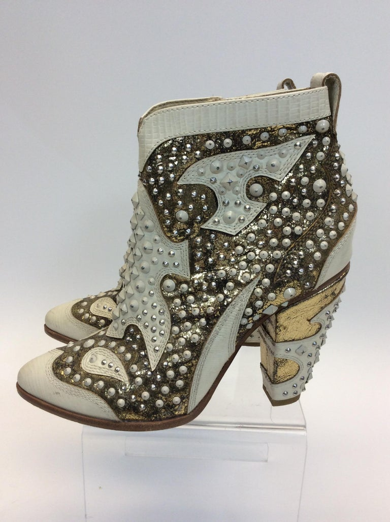 Gray Frye White Leather Beaded Ankle Boots For Sale