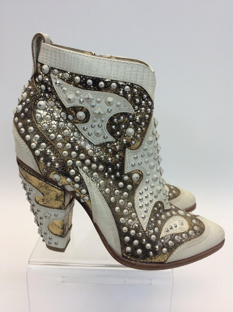 Women's Frye White Leather Beaded Ankle Boots For Sale
