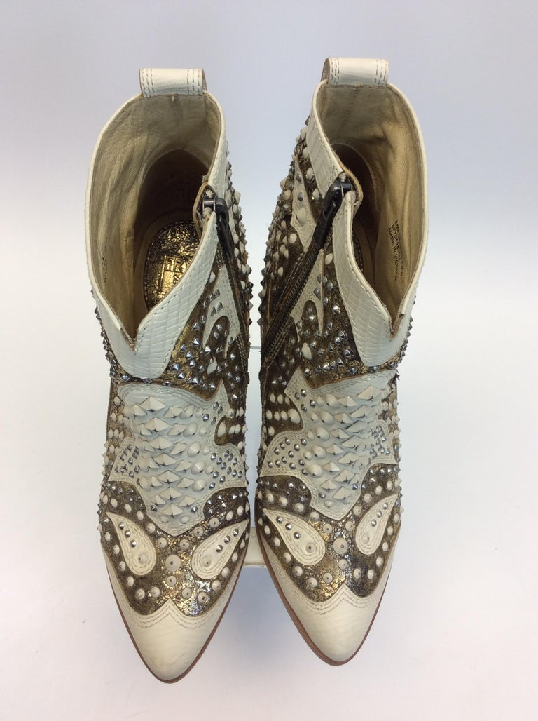 Frye White Leather Beaded Ankle Boots For Sale 1