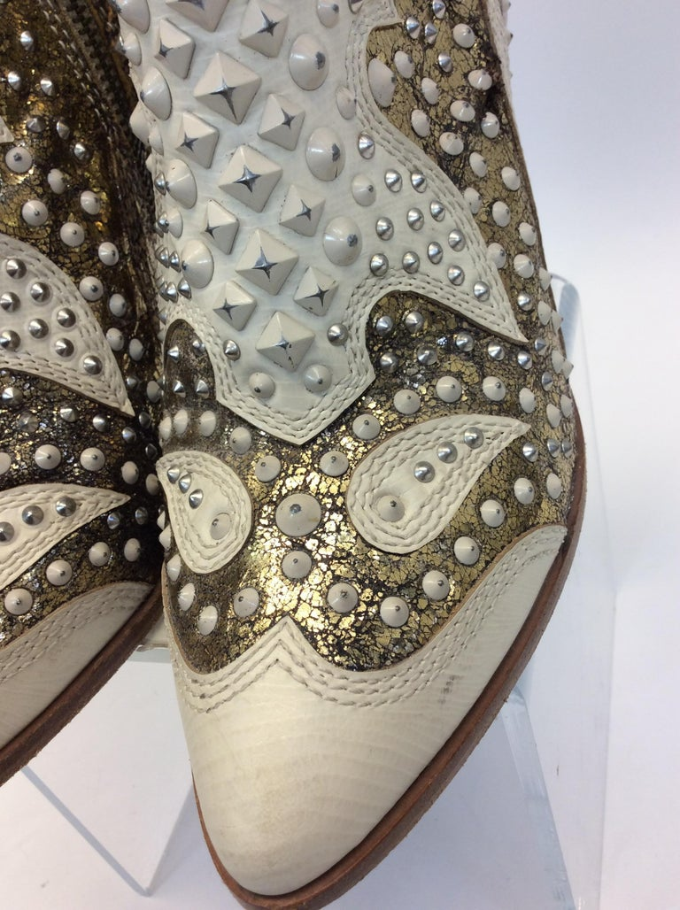 Frye White Leather Beaded Ankle Boots For Sale 2