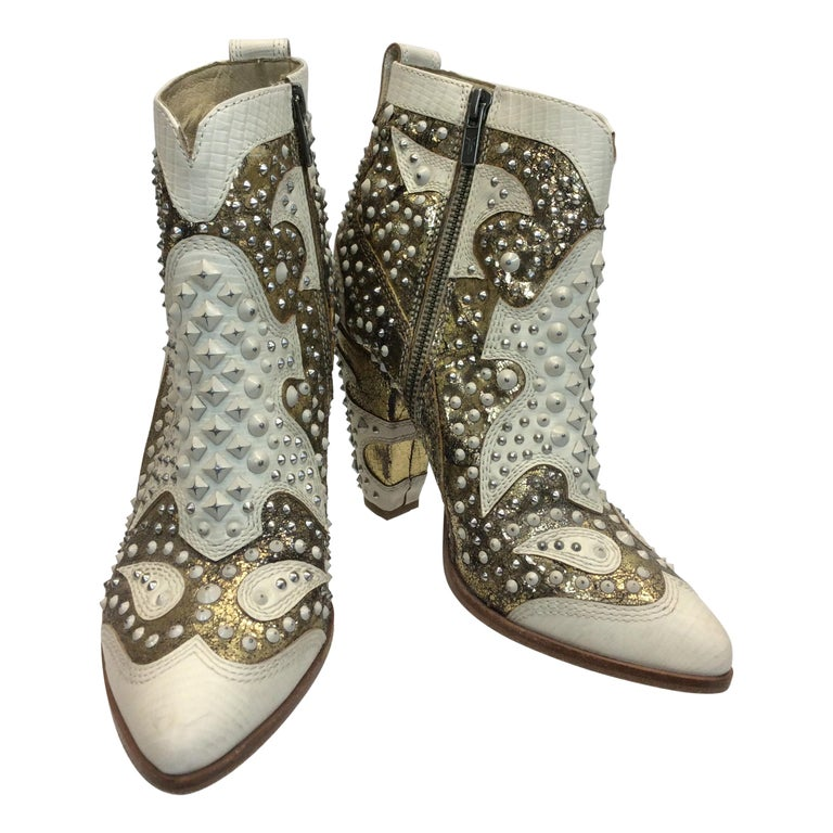 Frye White Leather Beaded Ankle Boots For Sale