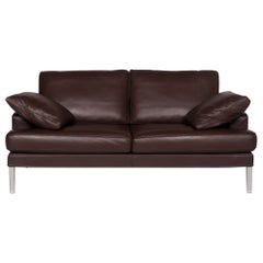 Fsm Clarus Leather Sofa Brown Dark Brown Two-Seater Function Couch