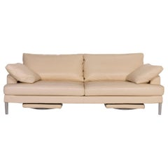 FSM Clarus Leather Sofa Cream Three-Seat Function