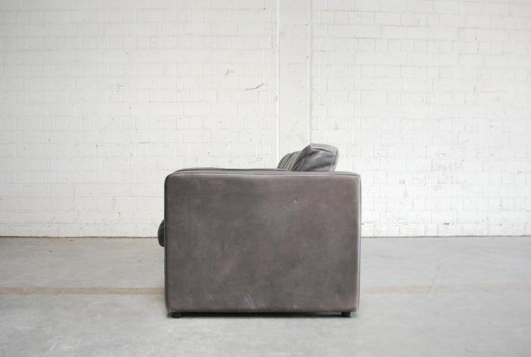 FSM / De Sede Vintage Leather Sofa Anthrazit / Black For Sale 4
