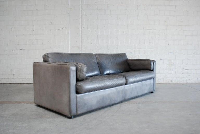 FSM / De Sede Vintage Leather Sofa Anthrazit / Black For Sale 9