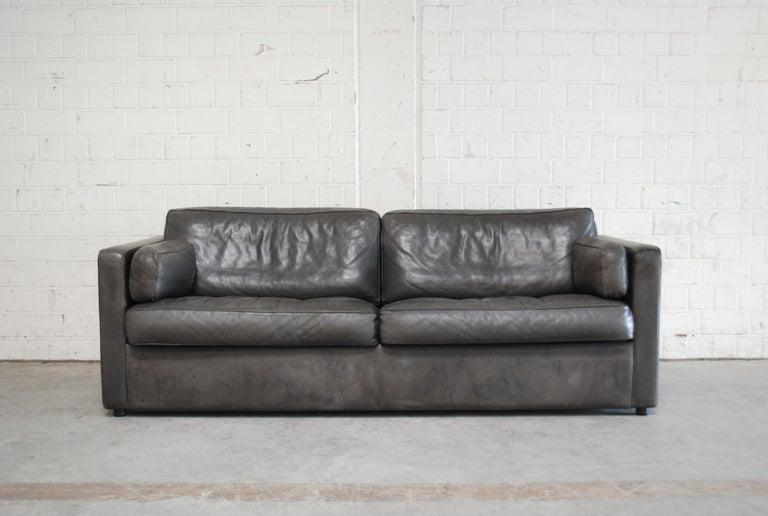 Modern FSM / De Sede Vintage Leather Sofa Anthrazit / Black For Sale