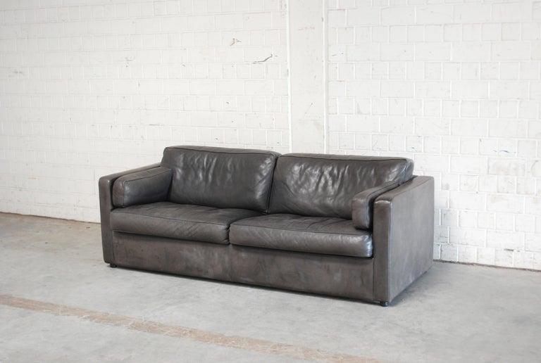 German FSM / De Sede Vintage Leather Sofa Anthrazit / Black For Sale