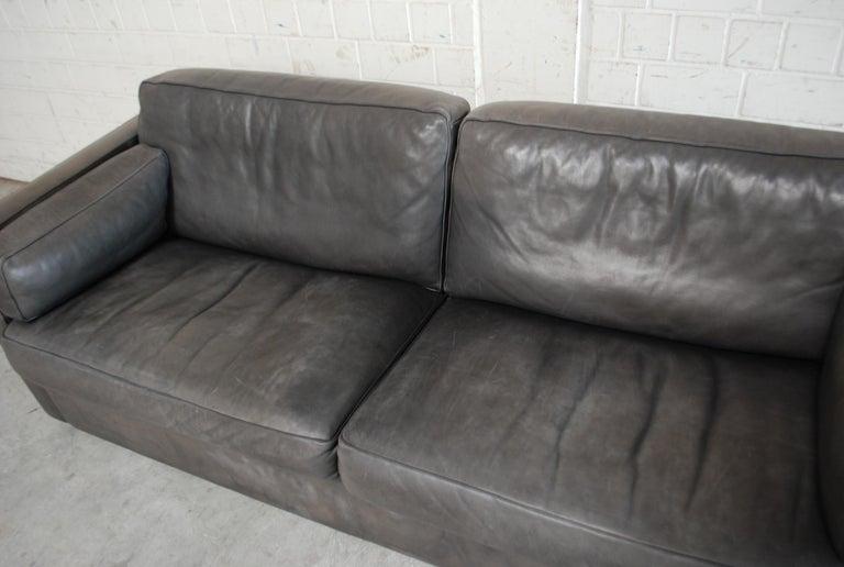 FSM / De Sede Vintage Leather Sofa Anthrazit / Black In Fair Condition For Sale In Munich, Bavaria