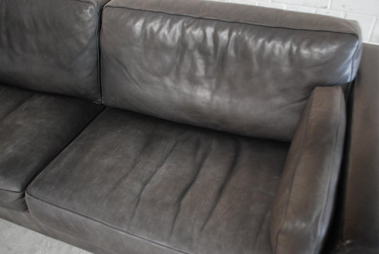 Late 20th Century FSM / De Sede Vintage Leather Sofa Anthrazit / Black For Sale