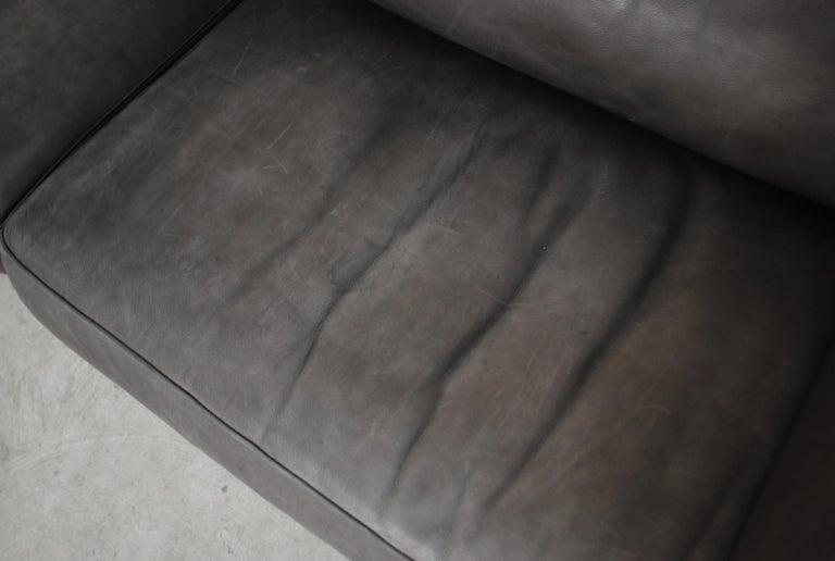 FSM / De Sede Vintage Leather Sofa Anthrazit / Black For Sale 1