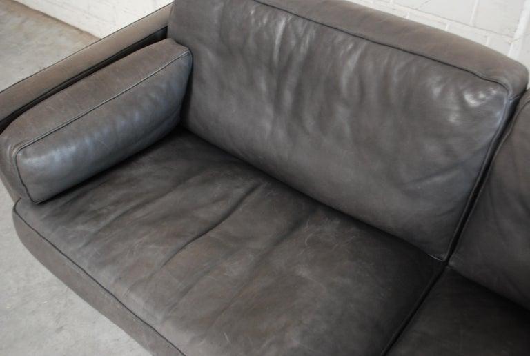 FSM / De Sede Vintage Leather Sofa Anthrazit / Black For Sale 2
