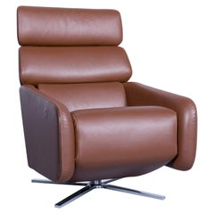 FSM Ergo Designer Relax Armchair Leather Brown One Seat Couch Modern