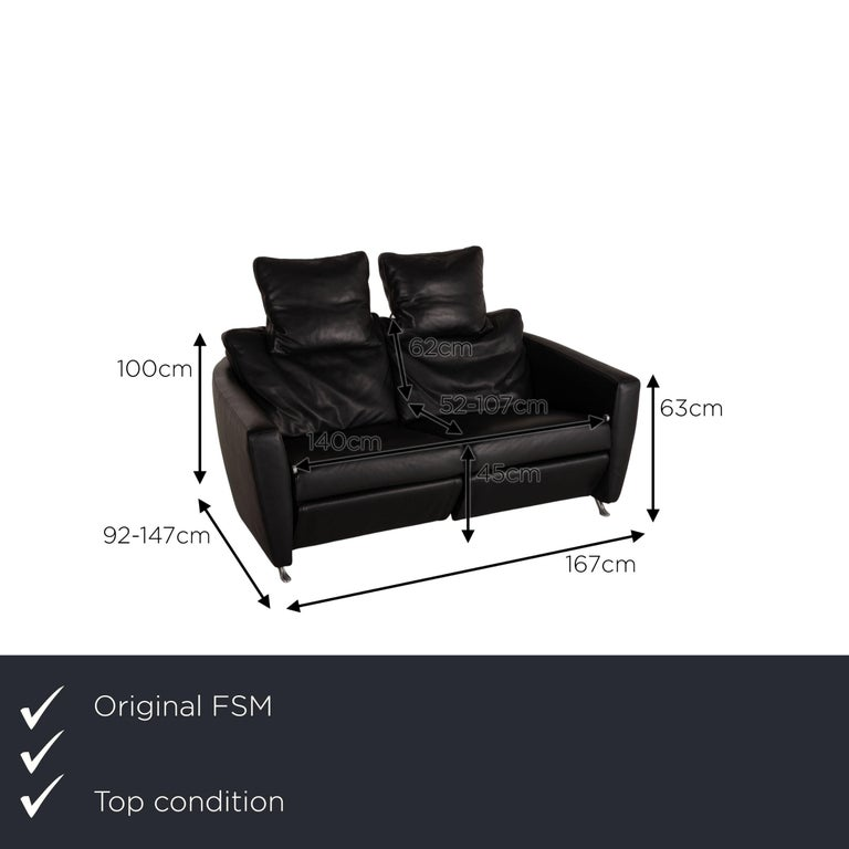 We present to you a FSM Sesam FSM250 / 23 leather sofa black two-seater function incl. Cushion.     Product measurements in centimeters:    Depth: 92 Width: 167 Height: 100 Seat height: 45 Rest height: 63 Seat depth: 52 Seat width:
