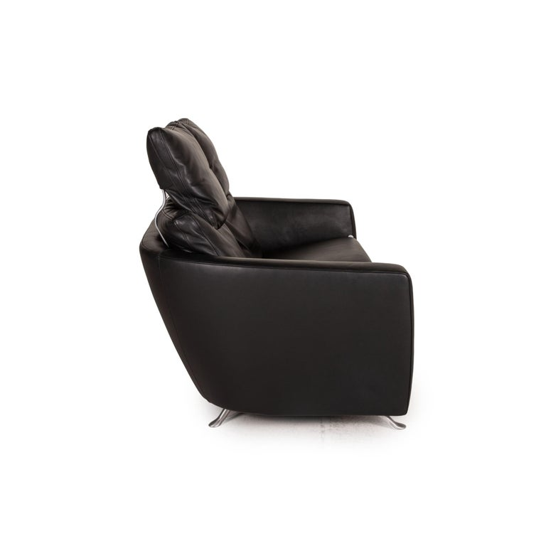 FSM Sesam FSM250 / 23 Leather Sofa Black Two-Seater Function Incl. Cushion For Sale 1