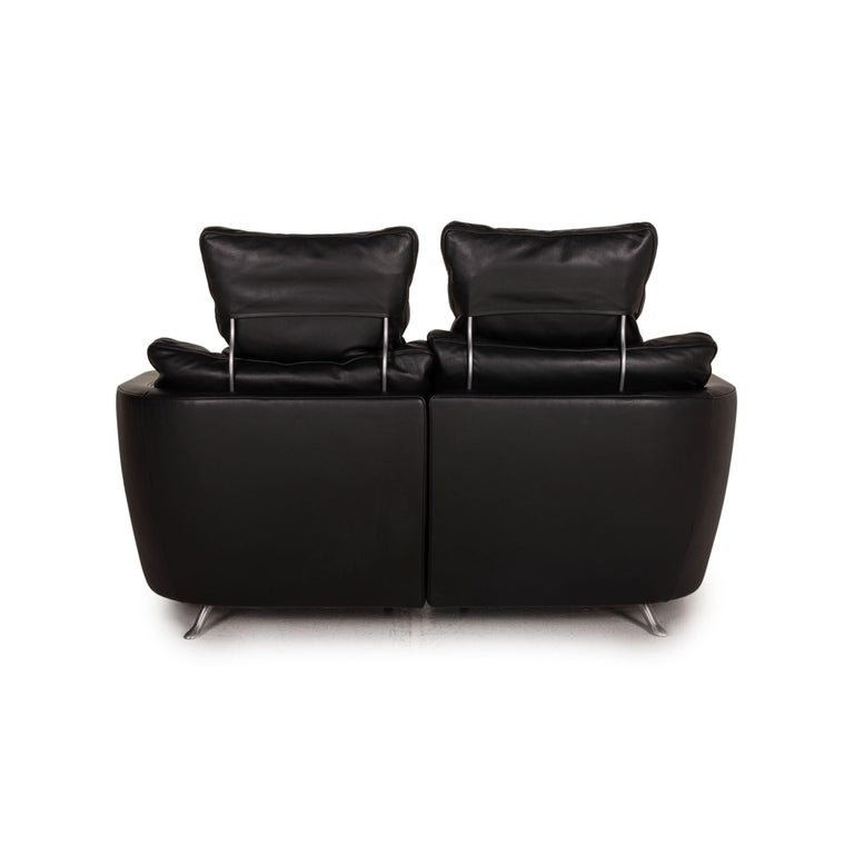 FSM Sesam FSM250 / 23 Leather Sofa Black Two-Seater Function Incl. Cushion For Sale 2