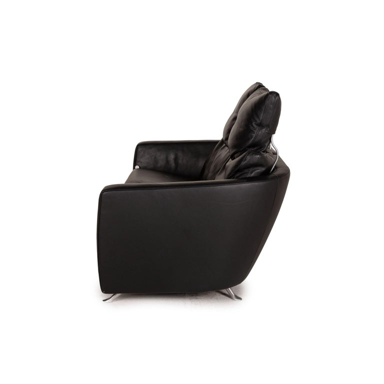FSM Sesam FSM250 / 23 Leather Sofa Black Two-Seater Function Incl. Cushion For Sale 3