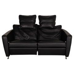 FSM Sesam FSM250 / 23 Leather Sofa Black Two-Seater Function Incl. Cushion